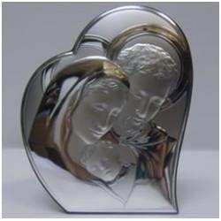 Obraz srebrny Święta Rodzina w sercu