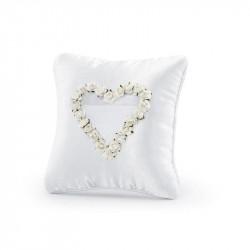 Poduszka na Obrączki z Białym Sercem