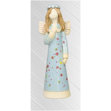 Anioł Iza stojący szkliwo 17cm niebieski