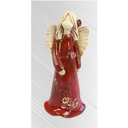 Anioł Iza Stojący Szkliwo 17cm - czerwony
